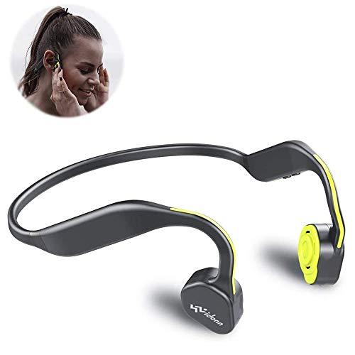 VIDONN Słuchawki przewodnictwo kostne tytanowe bezprzewodowe sportowe słuchawki stereo odporne na pot z mikrofonem do biegania jazdy na rowerze pieszych wędrówek otwarte ucho słuchawki dla Andorid iPhone inne urządzenia Bluetooth (żółty)