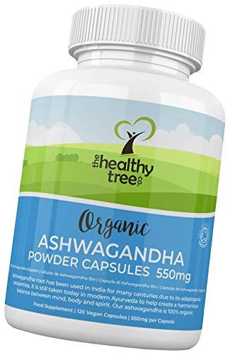 Gélules d'Ashwagandha Bio par TheHealthyTree Company - Végan Capsules, Herbe Ayurvédique Adaptogène 100% Naturelle pour le Corps et l'Esprit - 120 x 550 mg Comprimés de Racines d'Ashwagandha