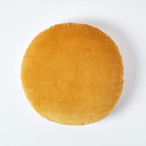 HOMESCAPES Coussin Rond 40 cm en Velours Pur Coton Doux uni Jaune Moutarde, décoration canapé ou Fauteuil