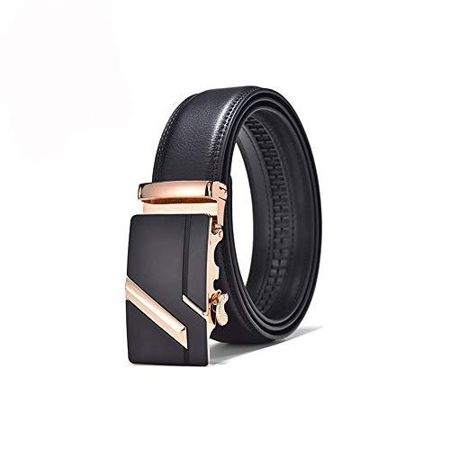 TWFY Cinturón de Hombre de Cuero Clásico Las Correas de Cuero for Hombres sólido Hebilla automática con trinquete Individual Cinturón de Vestir Casual (Color : Gold, Size : 130)