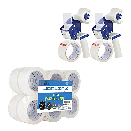 JARLINK Clear Packing Tape (12 Rolls) Bundle with 2 Dispenser Guns with 2 Rolls Tape for Shipping Packaging Moving Sealing
