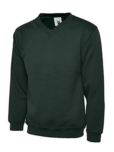 UC204 - Bottle Green - XL - 340GSM Premium V-Neck Sweatshirt