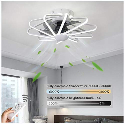 LED Ventilador De Techo Infantil,Velocidad Del Viento Ajustable Remoto Control Regulable Ventiladores De Techos Con Iluminación 200W Silenciosa Invisible Ventilador De Techo 5 Aspas,58cm (white)
