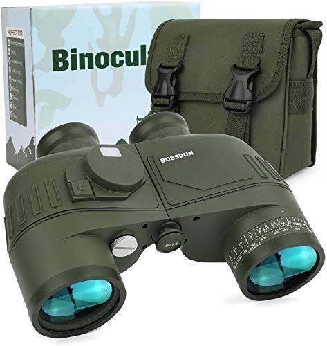 LHY Herramienta 7x50 binoculares Marinos para Adultos a Prueba de Agua con brújula RangeFinder Hiedra a Prueba de Niebla BAK4 Prisma Lente Militar Binocular Preciso (Color : Green)