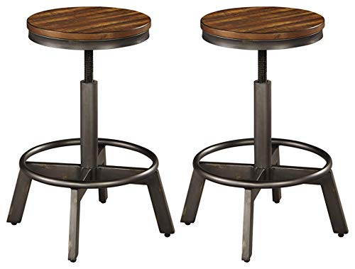 Signature Design by Ashley - Torjin Stool - Set of 2 - Industrial Style - Two-tone Brown/Gray
