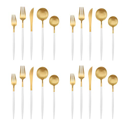 Matte Gold Silverware Set with white handle, Bysta 20-Piece Stainless Steel Flatware Set, Kitchen Utensil Set Service for 4, Tableware Cutlery Set for Home and Restaurant, Dishwasher Safe