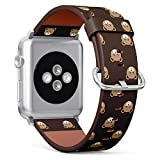 Compatible with Apple Watch iWatch (42/44 mm) // Leather Replacement Bracelet Strap Wristband + Adapters // Cute Bear