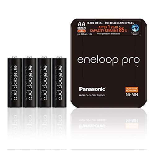 Panasonic eneloop pro, Ready-to-Use Ni-MH Akku, AA Mignon, 4er Pack mit wiederverwendbarer Verpackung, min. 2500 mAh, 500 Ladezyklen, starke Leistung, wiederaufladbare Akkubatterie