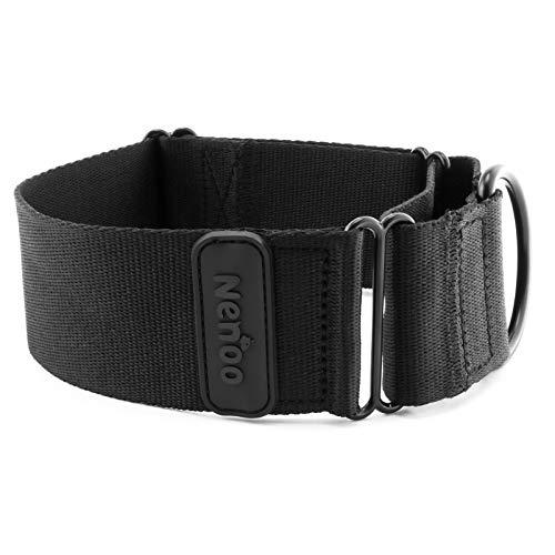 Nenoo Collar Martingale para Perros Que Escapan. Todo Negro 30-49 cm (M)