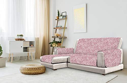 "Italian Bed Linen "" Glamour"" Funda para sofà Anti-Deslizamiento con Chaise-Longue, Izquierda, Burdeos, 240cm, Lino"