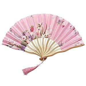 LONLLXY Hand Held Folding Dance Fan Wedding Party Lace Silk Folding Hand Held Flower Fan Summer Wedding Fan Party