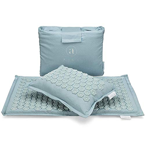 Ajna Acupressure Mat and Pillow Set - Ideal for Back Pain Relief and Neck Pain Relief - Advanced Stress Reliever - Muscle Relaxant - Free Tote Bag - Eco Lite (Sky Blue)