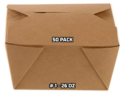 [50 PACK] Take Out Food Containers 26 oz Kraft Brown Paper Take