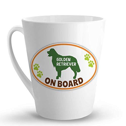 Golden Retriever ON Board Dog Dogs - 12 Oz. Unique Latte Mug, Coffee Cup