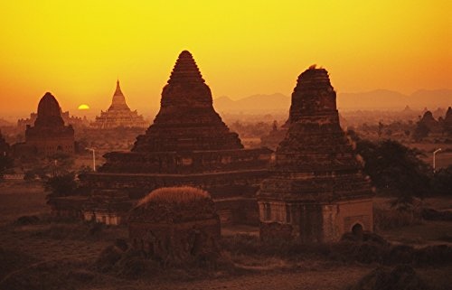 Posterazzi Burma (Myanmar) Bagan Temples at sunset Shwesandaw Paya Poster Print, (18 x 11)