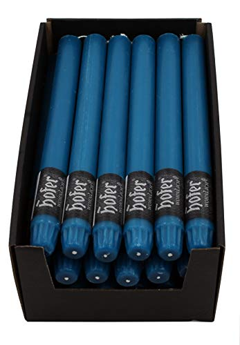 Hofer 24 Stück Stabkerzen Leuchterkerzen 23 x 270mm Rustik durchgefärbt Farbe Petrol