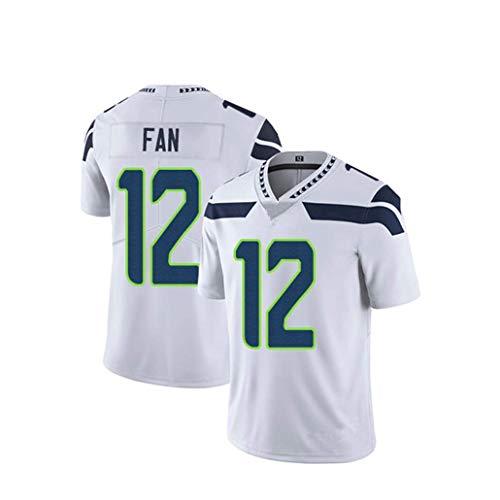 NAFE Camiseta de fútbol para Hombre-Seahawks 12# Fan, Camiseta de fútbol Americano de Malla de Secado rápido para fanáticos, Camiseta Deportiva de Manga Corta-White-XXL