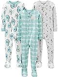 Simple Joys by Carter's 3-Pack Snug Fit Footed Cotton Pajamas para bebés y niños pequeños, Aguacates/Llama, 12 Meses, Pack de 3
