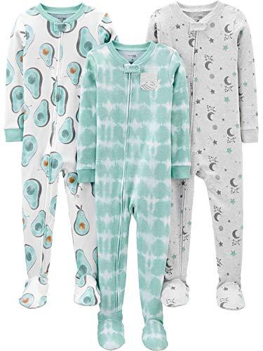 Simple Joys by Carter's 3-Pack Snug Fit Footed Cotton Pajamas Baby-und Kleinkindschläfer, Avocados/Batik, 2 Jahre, 3er-Pack
