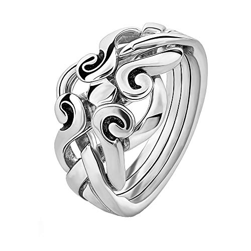 Sterling Silver Puzzle Ring 4ANS - Size: 6