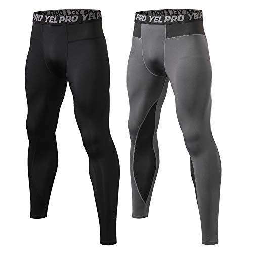 Junyue 2 Packs Running Tights for Men Workout Leggings Training Athletic Base Layer Pants Mens Compression Underwear for Gym Basketball Cycling Yoga Hiking, #289-black+gray, X-Large