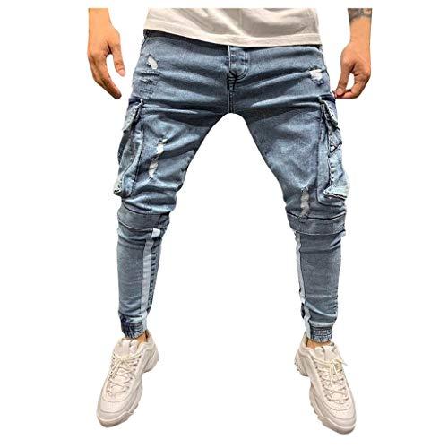 Qmber Hosen Herren Jeans Destroyed Slim fit Hose Herren Jeans Destroyed Sommer Hosen Herren Jogger Jeans mit löchern schwarz Hosen Herren Slim fit Stretch Freizeithose Herren (S, Hellblau)