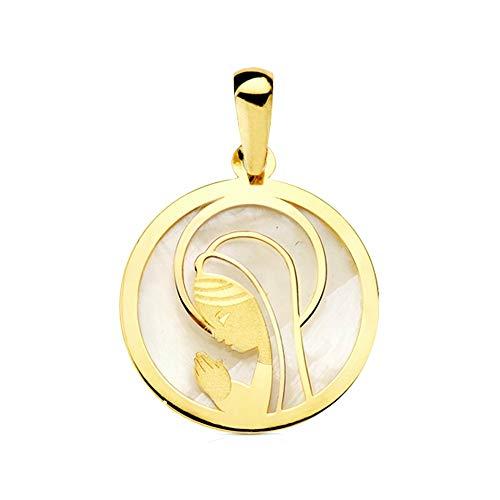 Medalla Oro 9K Virgen Niña 17mm. Redonda Fondo Nácar Borde Liso