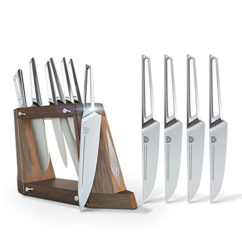 The Dalstrong Crusader Series 8-Piece Knife Block Set Bundled with The Dalstrong Crusader Series 4-Piece Steak Knife Set