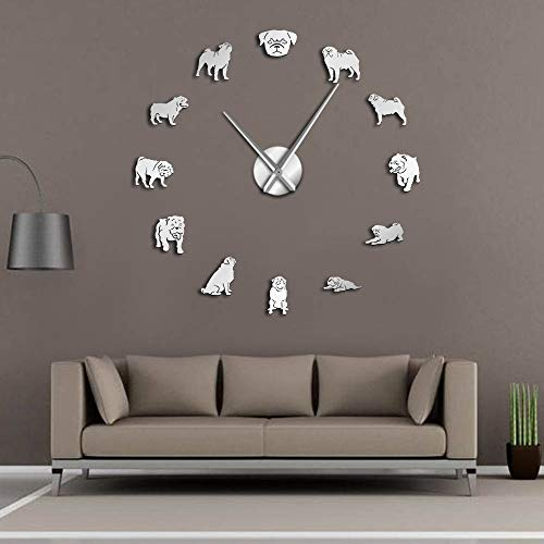 GUDOJK Ein Mops MIH Jeans Hund DIY Wanduhr Hund Rennen Spiegeleffekt Wand Kunst Tierhandlung dekorative Wanduhr Liebhaber Geschenk für Mops 27inch