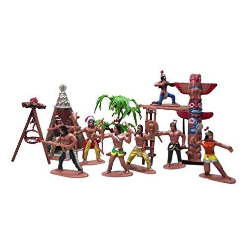 Toyvian 13 Piezas Figuras Indias Juguete Plástico Hombre Indio Modelo Wild West Cowboys Soldados Juguetes Cubo Juguete Playset Educación para Niños Niños Pequeños Niños