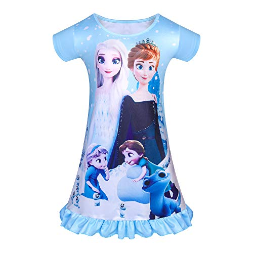 DSL Mädchen Nachthemd Prinzessin Nachthemden Kleider Nachtwäsche Kurzarm Pyjamas Nachthemden Geburtstagsgeschenk für Mädchen 3-8 Pink Blue