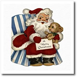 3dRose ht_172819_1 Cartoon Santa Sittingin Chair with Bear Cub Wishing a Merry Christmas Iron on Heat Transfer, 8 by 8-Inch, for White Material