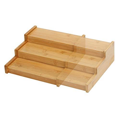 Especiero Extensible de Bambú Madera Vacío, Organizador Estante de Cocina, Mesa y Armario, Especiero de Almacenamiento para Superficie de Trabajo, Estante de 3 Pisos Niveles para Condimentos