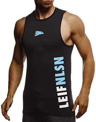 Leif Nelson Gym Herren Fitness Sport-Shirt ohne Ärmel Top Trainingsshirt Slim Fit Männer Bodybuilder Training Funktionsshirt Bekleidung für Bodybuilding LN8283 Schwarz-Türkis Medium