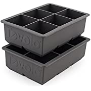 Tovolo 81-21778 King Cube Ice Mold Tray, Set of 2, Charcoal Gray