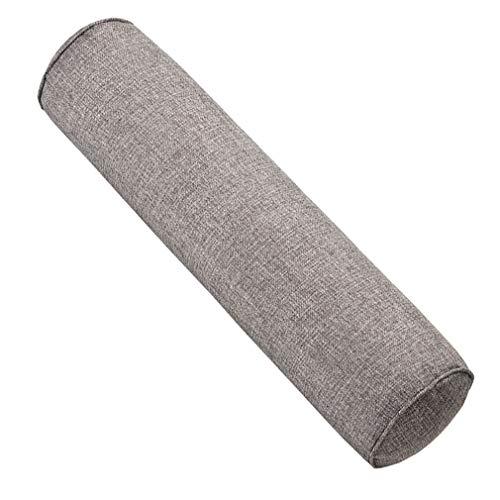 JK Home - Cuscino cilindrico in cotone e lino, per il collo, per il divano, il letto, per viaggiare e dormire, Cotone lino, Grigio, 10x40cm