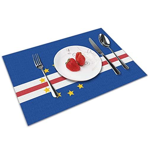 N\A Flagge von Kap Verde Tischmatte Waschbare rutschfeste dekorative Essmatten 4er-Set