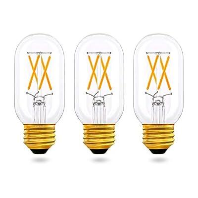 T45/T14 E26 Edison Bulb 40 Watt Equivalent, Dimmable(0-100%), Warm White 2700K, AIELIT Antique LED Tubular Filament Light Bulbs for Chandelier Bathroom Vanity Ceiling Fan Pendant Lights, 3-Pack