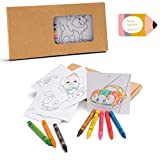 Set Infantil de Plantillas con Dibujos y Ceras para Colorear. Lote de 10 Unidades. Regalo para cumpleaños de niños, Comunión, Bodas, colegios y Fiestas Infantiles.
