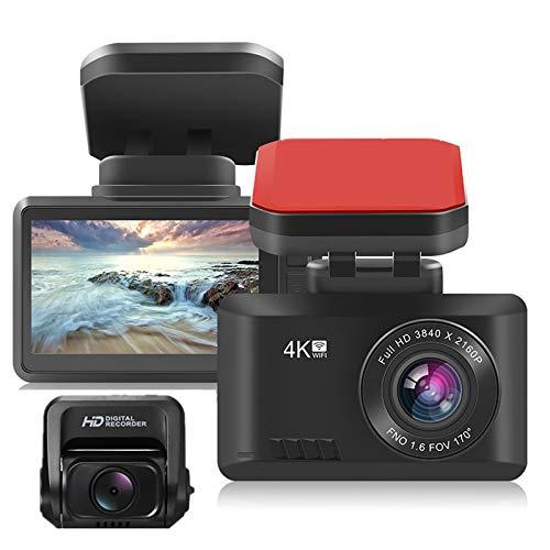 4K Dual Dashcam Vorder Und Rückseite Eingebautes WiFi GPS Mit Nachtsicht-Parkmonitor Bewegungsmelder G-Sensor 170º Weitwinkelobjektiv Loop-Cycle-Aufzeichnung