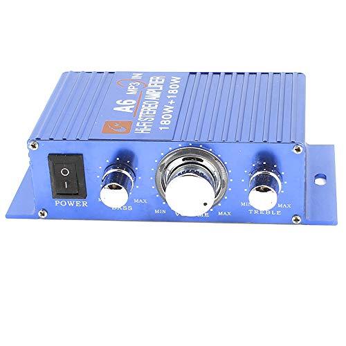 uxcell オーディオアンプ カー ブルー アルミ ミニハイファイ ステレオ パワー DC 12V 180W