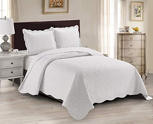 Luxury Home Collection 3 Piece King/California King Oversized Ultrasonic Embossed Coverlet Bedspread Set Solid White
