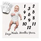 ONE4ONE Safety | White Baby Milestones Blanket with Milestone Stickers | Unisex Blanket for Newborn |Cute Baby Shower Gift | Cute Photo Accessories Prop Backdrop | Funny Stickers