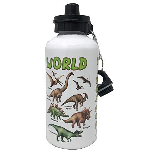 Botella de aluminio con mosquetón y cierre hermético, libre de sustancias nocivas – Capacidad 500 ml – Con dibujo simpático de dinosaurios (Mod. 2)