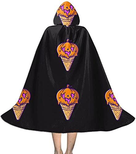 KEROTA Capa con capucha para Halloween mgico, fiesta de Navidad, cosplay, disfraz de capa de helado, calabaza, Halloween, dibujos animados
