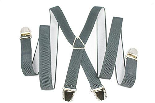 YEHMAN Bretelle fine X Made in France 2.5 cm à grosses pinces/clips Homme Femme (Gris foncé)