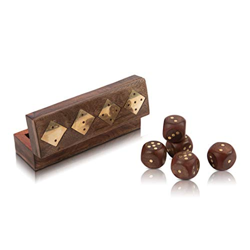 Handcrafted Wooden 5 Dice Box Holder Shaker Dice Roller Thrower Portable Dice Cup Five Dice Game Set Storage Case Decorative Brass Inlay Toys & Games Birthday Housewarming Party Favor Gift Ideas