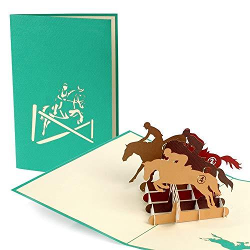 Grußkarte mit Pferden, Gutschein für Reitunterricht, Glückwunschkarte oder Gutscheinfür Mädchen, Geburtstagskarte, Glückwunschkarte, Karte zum Geburtstag, Pop-Up Karte, F18