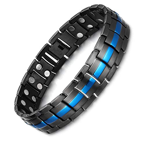 Magnetic Therapy Bracelet for Men Black/Blue Two Tone Bracelet 8.5inches