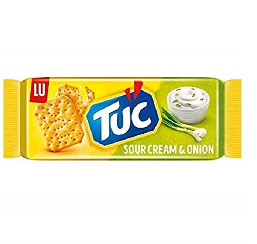 TUC Sour Cream & Onion 9 x 100g, Fein gesalzenes Knabbergebäck mit Sauerrahm-Zwiebelgeschmack